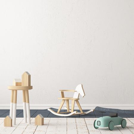 Chambre d'enfants de style scandinave. Illustration 3D. Banque d'images - 87129231