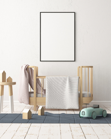 Mock up poster in the childrens bedroom in pastel colors. Scandinavian style. 3d rendering.