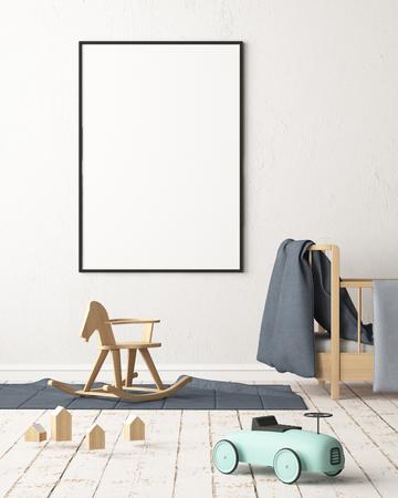 Maquette affiche dans la chambre des enfants dans des couleurs pastel. Style scandinave. Rendu 3D Banque d'images - 88905369