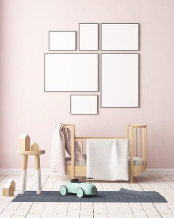 Maquette affiche dans la chambre des enfants dans des couleurs pastel. Style scandinave. Rendu 3D Banque d'images - 88905370