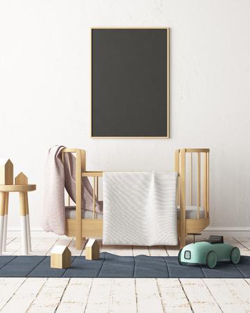 Maquette affiche dans la chambre des enfants dans des couleurs pastel. Style scandinave. Rendu 3D Banque d'images - 88905374