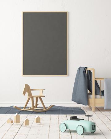 Maquette affiche dans la chambre des enfants dans des couleurs pastel. Style scandinave. Rendu 3D Banque d'images - 88905371