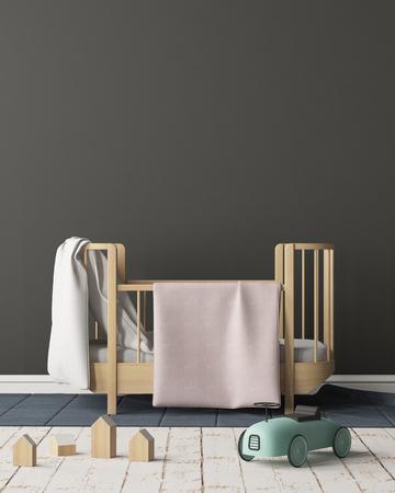 Bespeel poster in de kinderkamer in pastelkleuren. Scandinavische stijl. 3D-rendering.