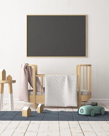 Maquette affiche dans la chambre des enfants dans des couleurs pastel. Style scandinave. Rendu 3D Banque d'images - 88905378
