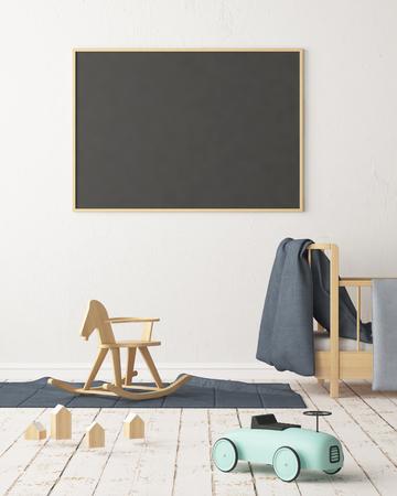 Maquette affiche dans la chambre des enfants dans des couleurs pastel. Style scandinave. Rendu 3D Banque d'images - 88905375