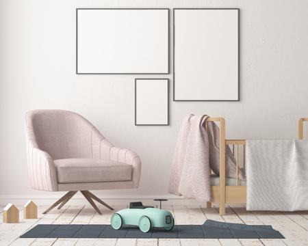 Mock up Poster im Kinderzimmer in Pastellfarben. Skandinavischer Stil. Wiedergabe 3d. Standard-Bild - 88905377