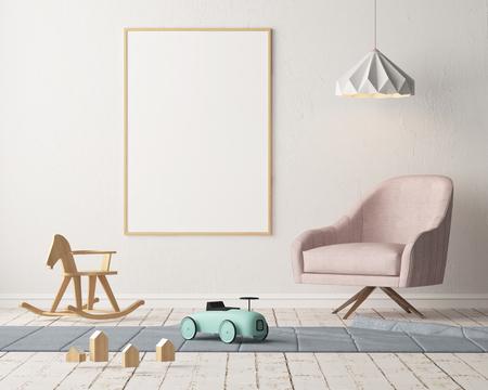 Maquette affiche dans la chambre des enfants dans des couleurs pastel. Style scandinave. Rendu 3D Banque d'images - 88905379