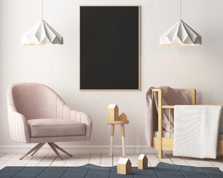 Maquette affiche dans la chambre des enfants dans des couleurs pastel. Style scandinave. Rendu 3D Banque d'images - 88905385