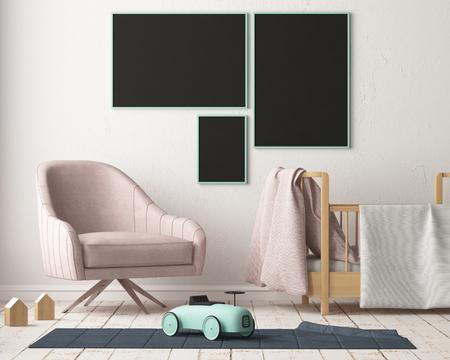 Bespeel poster in de kinderkamer in pastelkleuren. Scandinavische stijl. 3D-rendering. Stockfoto - 88905384