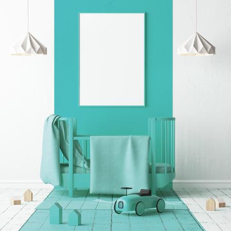 청록색으로 어린이 침실을 모의. 스칸디나비아 스타일. 3d 렌더링입니다.
