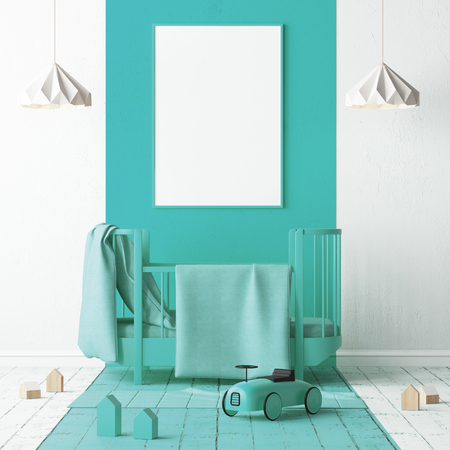 Mock up of a childrens bedroom in a turquoise. Scandinavian style. 3d rendering. Stock Photo