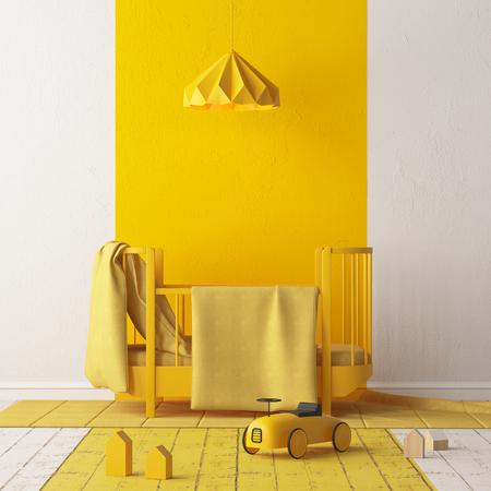 子供の寝室をモックアップする。スカンジナビアスタイル。3d レンダリング。 写真素材
