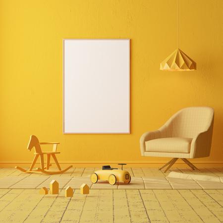 Bespot de kinderkamer. Scandinavische stijl. 3D-rendering.