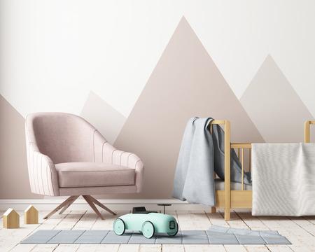 파스텔 색상으로 아이들의 침실에서 포스터를 모의. 스칸디나비아 스타일. 3d 렌더링입니다. 스톡 콘텐츠 - 88904712