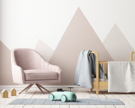 Mock up poster in the children's bedroom in pastel colors. Scandinavian style. 3d rendering.