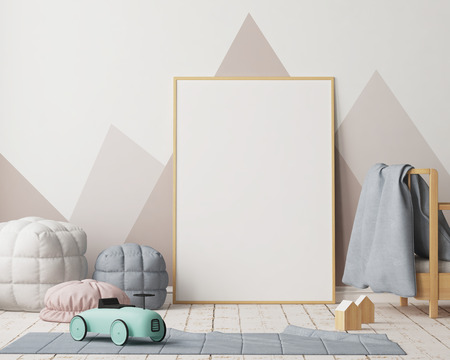 Mock up poster in the children's bedroom in pastel colors. Scandinavian style. 3d rendering.