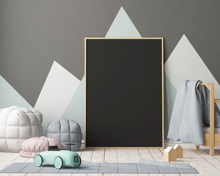 Maquette affiche dans la chambre des enfants dans des couleurs pastel. Style scandinave. Rendu 3D Banque d'images - 88976028