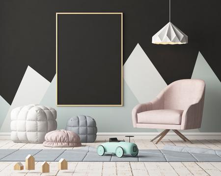 파스텔 색상으로 아이들의 침실에서 포스터를 모의. 스칸디나비아 스타일. 3d 렌더링입니다. 스톡 콘텐츠