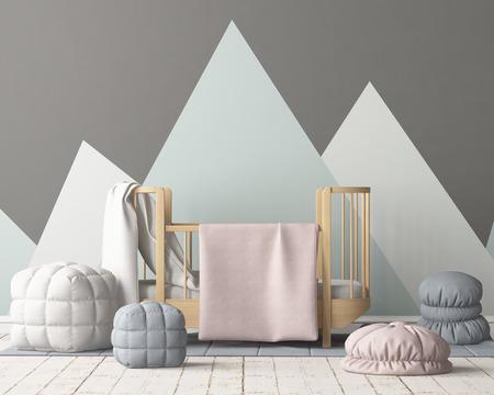 Bespeel poster in de kinderkamer in pastelkleuren. Scandinavische stijl. 3D-rendering. Stockfoto - 88976030