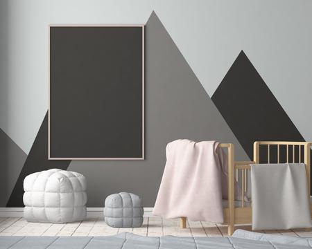 Maquette affiche dans la chambre des enfants dans des couleurs pastel. Style scandinave. Rendu 3D Banque d'images - 88976031