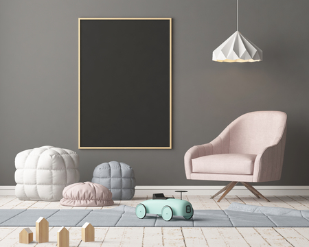 Burlarse de póster en el dormitorio de los niños en colores pastel. Estilo escandinavo Representación 3D. Foto de archivo - 88976032