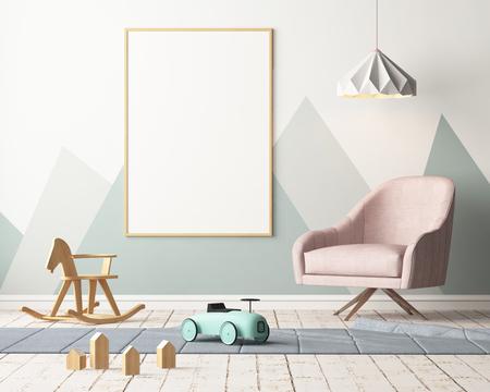 Mock up poster nella camera dei bambini in colori pastello. Stile scandinavo. Rendering 3d. Archivio Fotografico - 88976036