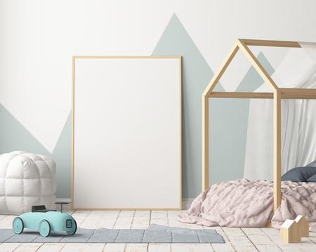 パステル色の子供のベッドルームのポスターのモックアップします。北欧スタイル。3 d レンダリング。