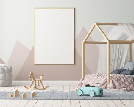 Burlarse de póster en el dormitorio de los niños en colores pastel. Estilo escandinavo Representación 3D. Foto de archivo - 88976041