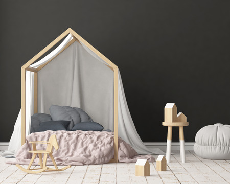 Mock up poster in the childrens bedroom with a canopy. Scandinavian style. 3d