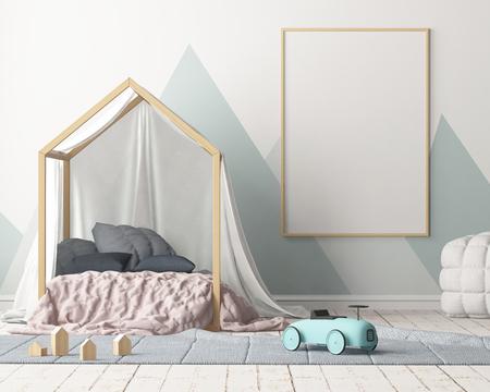 Burlarse del póster en la habitación de los niños con un dosel. Estilo escandinavo 3d Foto de archivo - 88976011