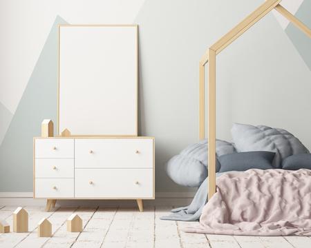 캐노피가 달린 아이들 침실에 포스터를 입으십시오. 스칸디나비아 스타일. 3d 스톡 콘텐츠 - 88976018