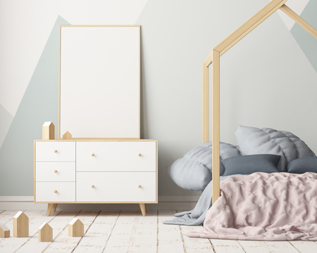 Maquette affiche dans la chambre des enfants avec un auvent. Style scandinave. 3d Banque d'images - 88976018