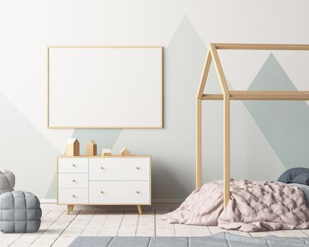 天蓋付き子供の寝室でポスターをモックアップ。スカンジナビアスタイル。3 d