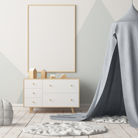 Mock up poster in the children's bedroom with a canopy. Scandinavian style. 3d Archivio Fotografico