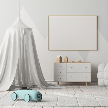 Bespot poster in de kinderkamer met een luifel. Scandinavische stijl. 3d