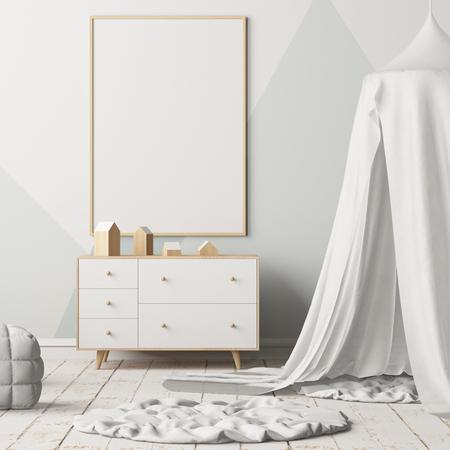 子供の寝室、天蓋付きでポスターのモックアップします。北欧スタイル。3 d