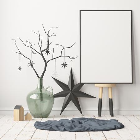 Maquette affiche à l'intérieur de Noël dans un style scandinave. Rendu 3D Banque d'images - 88975957