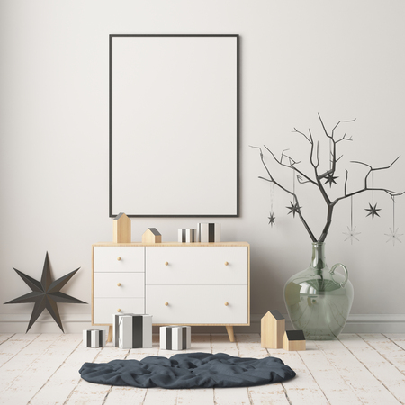 Mock up poster in the Christmas interior in Scandinavian style. 3D rendering Stock Photo - 88975913
