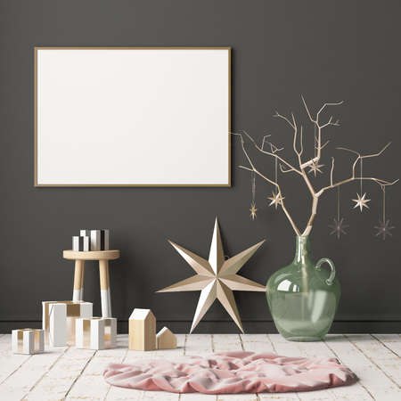 Mock up poster in the Christmas interior in Scandinavian style. 3D rendering Stock Photo - 88975929