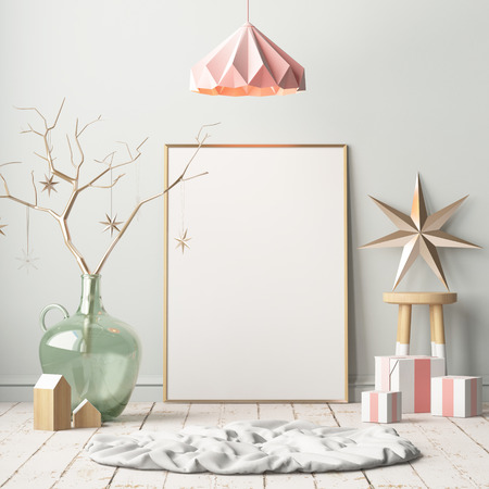 Mock up poster in the Christmas interior in Scandinavian style. 3D rendering