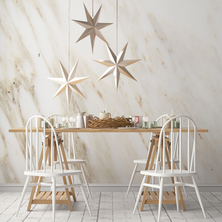 Christmas mockup with a poster on the background of a dinner table.3D rendering