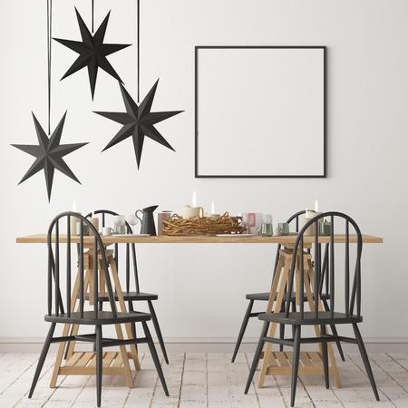 Modello di Natale con un poster sullo sfondo di un tavolo table.3D rendering Archivio Fotografico - 88773831
