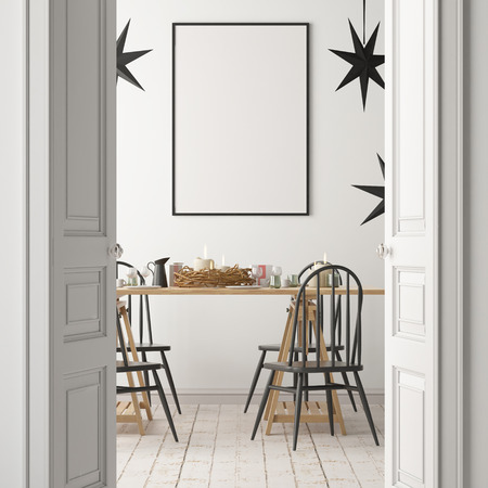 クリスマス ディナー table.3D レンダリングの背景のポスターとモックアップ 写真素材