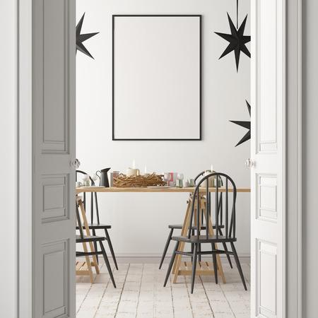 Maquete de Natal com um cartaz sobre o fundo de uma mesa de jantar. Foto de archivo - 88975866