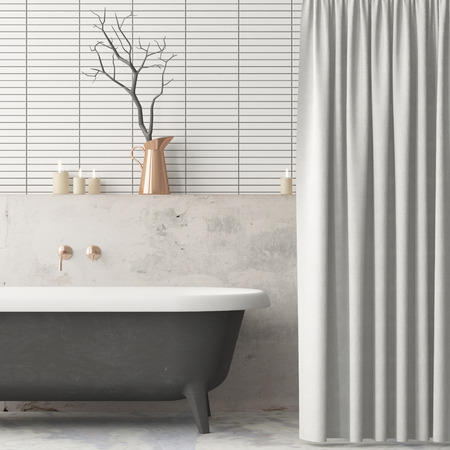 Mock up the bathroom in vintage style. Trend color. 3d.