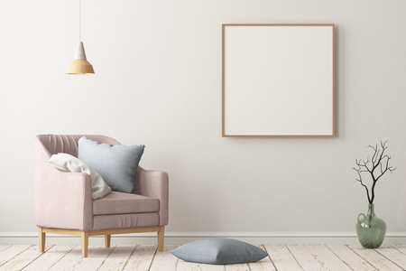 Mock up in the style of a lag with a chair. Scandinavian style. 3D rendering