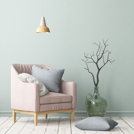 Interior in lag style with an armchair. Scandinavian style. 3D rendering
