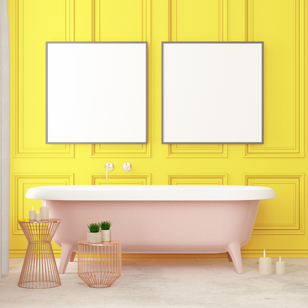 The interior of the bathroom is in Art Deco style. 3d illustration Stockfoto - 103324009