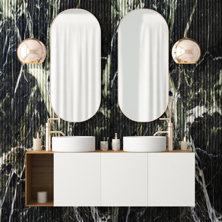 The interior of the bathroom is in Art Deco style. 3d illustration