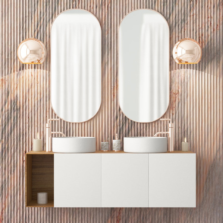 The interior of the bathroom is in Art Deco style. 3d illustration Stockfoto - 103324015